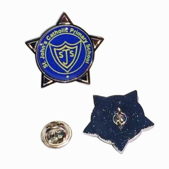 Superior Badge 18mm star silv clutch and printed dome